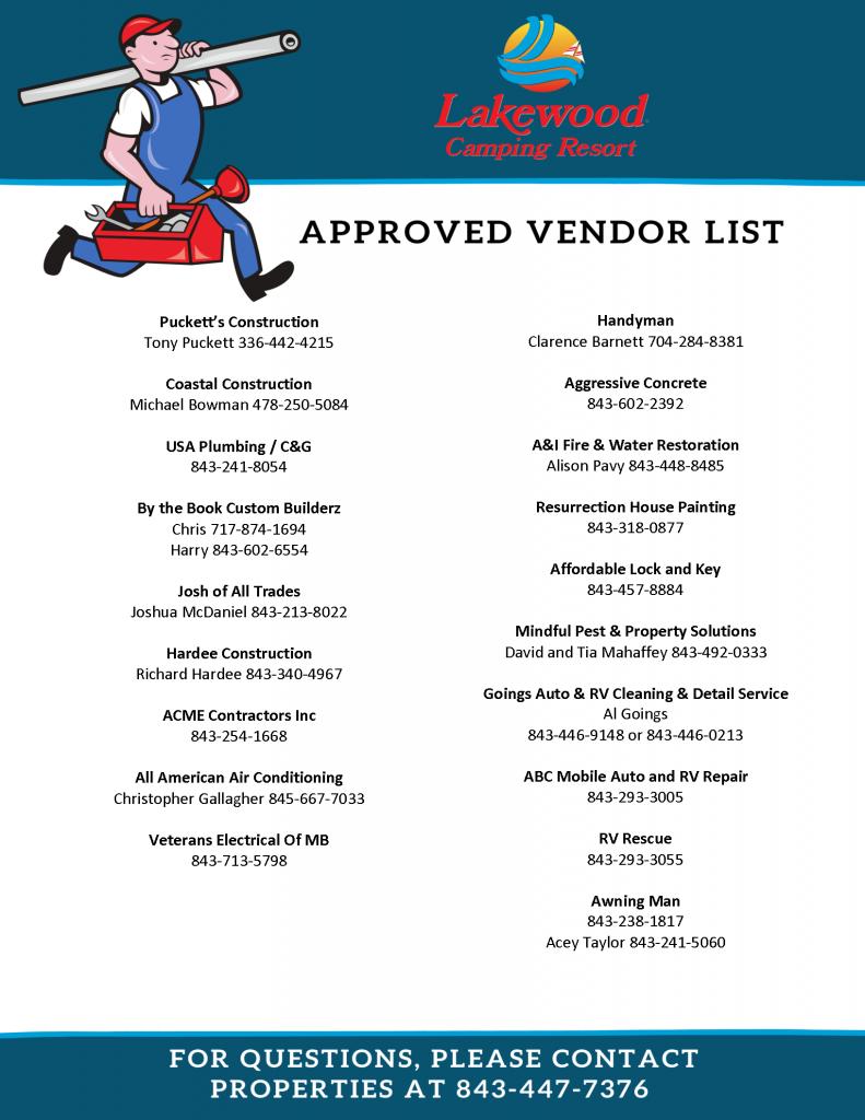 Lakewood Camping Resort Approved Vendor List