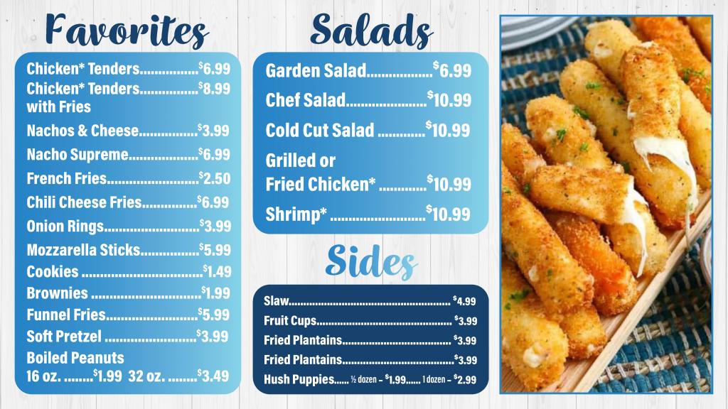 Lakewood Camping Resort Trading Post Favorites, Salads, and Sides Menu
