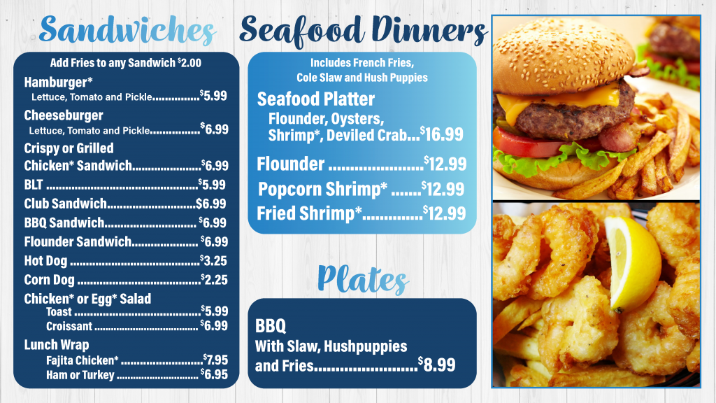 Lakewood Camping Resort Trading Post Sandwiches, Seafood, and BBQ Menu